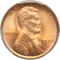 Lincoln Cents, 1933 1C MS67 Red PCGS. CAC....