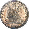 Seated Half Dollars, 1866-S 50C No Motto XF45 PCGS....
