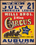 """Movie Posters:Miscellaneous, Circus Poster (Mills Brothers, 1954). Poster (22"""" X 28""""). Miscellaneous.. ..."""