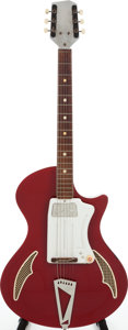 Musical Instruments:Electric Guitars, 1968 Wandre/Davoli Tri-Lam Ferrari Red Semi-Hollow Body ElectricGuitar....