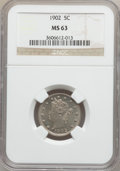 Liberty Nickels: , 1902 5C MS63 NGC. NGC Census: (128/425). PCGS Population (202/549).Mintage: 31,489,580. Numismedia Wsl. Price for problem ...