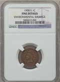Indian Cents: , 1908-S 1C -- Environmental Damage -- NGC Details. Fine. NGC Census:(56/1438). PCGS Population (147/2114). Mintage: 1,115,0...