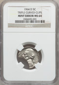 Errors, 1964-D 5C Triple Curved Clip MS64 NGC. NGC Census: (29/283). PCGSPopulation (185/434). Mintage: 1,787,297,152. Numismedia ...