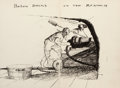 Mainstream Illustration, ANDREW NEWELL WYETH (American, 1917-2009). Below Decks on theRenown: Sketch on the Flyleaf of C.S. Forester's book, Lieut...