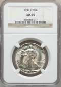 Walking Liberty Half Dollars: , 1941-D 50C MS65 NGC. NGC Census: (2114/1377). PCGS Population(3724/1675). Mintage: 11,248,400. Numismedia Wsl. Price for p...