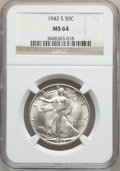 Walking Liberty Half Dollars: , 1942-S 50C MS64 NGC. NGC Census: (2132/1330). PCGS Population(3381/2663). Mintage: 12,708,000. Numismedia Wsl. Price for p...