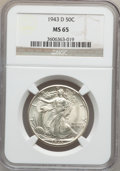 Walking Liberty Half Dollars: , 1943-D 50C MS65 NGC. NGC Census: (1746/1663). PCGS Population(3005/1829). Mintage: 11,346,000. Numismedia Wsl. Price for p...