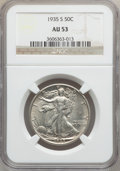 Walking Liberty Half Dollars: , 1935-S 50C AU53 NGC. NGC Census: (16/772). PCGS Population(22/1263). Mintage: 3,854,000. Numismedia Wsl. Price for problem...