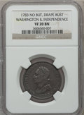 Colonials: , 1783 1C Washington & Independence Cent, Draped Bust, No ButtonVF20 NGC. NGC Census: (2/30). PCGS Population (2/116). ...