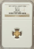 California Fractional Gold: , 1871 50C Liberty Octagonal 50 Cents, BG-911, R.4, MS64 NGC. NGCCensus: (6/11). PCGS Population (22/19). ...