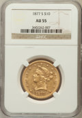 Liberty Eagles: , 1877-S $10 AU55 NGC. NGC Census: (28/12). PCGS Population (2/6).Mintage: 17,000. Numismedia Wsl. Price for problem free NG...