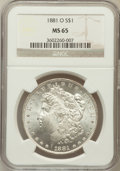 Morgan Dollars: , 1881-O $1 MS65 NGC. NGC Census: (481/8). PCGS Population (547/14).Mintage: 5,708,000. Numismedia Wsl. Price for problem fr...