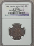 Half Cents, 1804 1/2 C Crosslet 4, Stems -- Improperly Cleaned -- NGC Details.XF. C-10. PCGS Population (41/145). ...