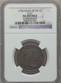 Large Cents: , 1794 1C Head of 1795 -- Corrosion -- NGC Details. AG. S-67. NGCCensus: (16/439). PCGS Population (9/472). Mintage: 918,52...