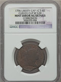 Large Cents, 1796 1C Liberty Cap Curved Clip @ 5:00 -- Corroded -- NGC Details.AG. S-83. NGC Census: (6/96). PCGS Population (11/169)....