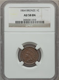 Indian Cents: , 1864 1C Bronze No L AU58 NGC. NGC Census: (36/349). PCGS Population(57/257). Mintage: 39,233,712. Numismedia Wsl. Price fo...