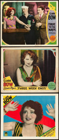 """Movie Posters:Miscellaneous, Clara Bow Lobby Card Lot (Paramount, 1928). Lobby Cards (3) (11"""" X 14"""").. ... (Total: 3 Items)"""