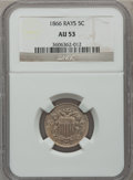 Shield Nickels: , 1866 5C Rays AU53 NGC. NGC Census: (20/1382). PCGS Population(33/1347). Mintage: 14,742,500. Numismedia Wsl. Price for pro...