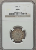 Liberty Nickels: , 1884 5C MS61 NGC. NGC Census: (17/324). PCGS Population (4/382).Mintage: 11,273,942. Numismedia Wsl. Price for problem fre...