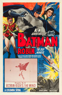 "The New Adventures of Batman and Robin (Columbia, 1949). One Sheet (27"" X 41"") Chapter 12 -- ""Robin Rides..."