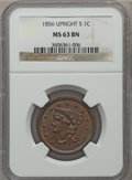 Large Cents: , 1856 1C Upright 5 MS63 Brown NGC. NGC Census: (113/380). PCGSPopulation (115/116). Mintage: 2,690,463. Numismedia Wsl. Pri...