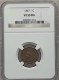 Indian Cents: , 1867 1C VF30 NGC. NGC Census: (17/438). PCGS Population (24/401).Mintage: 9,821,000. Numismedia Wsl. Price for problem fre...