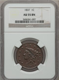 Large Cents: , 1837 1C Head of 1838 AU55 NGC. NGC Census: (30/450). PCGSPopulation (29/182). Mintage: 5,558,300. Numismedia Wsl. Pricefo...
