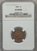 Indian Cents: , 1866 1C XF40 NGC. NGC Census: (25/431). PCGS Population (69/439).Mintage: 9,826,500. Numismedia Wsl. Price for problem fre...