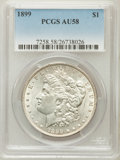 Morgan Dollars: , 1899 $1 AU58 PCGS. PCGS Population (261/10058). NGC Census:(323/7542). Mintage: 330,846. Numismedia Wsl. Price for problem...