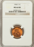 Lincoln Cents: , 1946-S 1C MS66 Red NGC. NGC Census: (2364/564). PCGS Population(1928/73). Mintage: 198,100,000. Numismedia Wsl. Price for ...