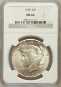 Peace Dollars: , 1928 $1 MS64 NGC. NGC Census: (936/91). PCGS Population (1716/257).Mintage: 360,649. Numismedia Wsl. Price for problem fre...