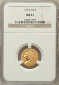 Indian Quarter Eagles: , 1914 $2 1/2 MS61 NGC. NGC Census: (1763/3725). PCGS Population(363/1957). Mintage: 240,000. Numismedia Wsl. Price for prob...