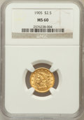Liberty Quarter Eagles: , 1905 $2 1/2 MS60 NGC. NGC Census: (44/5757). PCGS Population(93/5279). Mintage: 217,800. Numismedia Wsl. Price for problem...