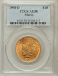 Indian Eagles: , 1908-D $10 Motto AU58 PCGS. PCGS Population (148/413). NGC Census:(205/404). Mintage: 836,500. Numismedia Wsl. Price for p...