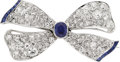 Estate Jewelry:Brooches - Pins, Art Deco Sapphire, Diamond, Platinum Brooch. ...