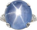 Estate Jewelry:Rings, Art Deco Star Sapphire, Diamond, Platinum, White Gold Ring. ...