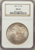 Morgan Dollars: , 1881-CC $1 MS64 NGC. NGC Census: (3319/3029). PCGS Population(6975/5830). Mintage: 296,000. Numismedia Wsl. Price for prob...