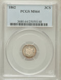Three Cent Silver: , 1862 3CS MS64 PCGS. PCGS Population (258/321). NGC Census:(298/369). Mintage: 343,000. Numismedia Wsl. Price for problem f...