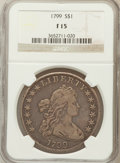 Early Dollars: , 1799 $1 7x6 Stars Fine 15 NGC. NGC Census: (59/1453). PCGSPopulation (200/2176). Mintage: 423,515. Numismedia Wsl. Price f...