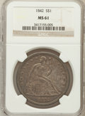 Seated Dollars, 1842 $1 MS61 NGC....