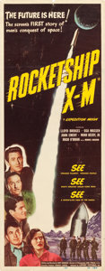 "Movie Posters:Science Fiction, Rocketship X-M (Lippert, 1950). Insert (14"" X 36""). From thecollection of Wade Williams.. ..."