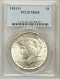 Peace Dollars: , 1934-D $1 MS63 PCGS. PCGS Population (1489/1711). NGC Census:(1125/1042). Mintage: 1,569,500. Numismedia Wsl. Price for pr...
