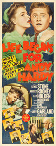 "Movie Posters:Comedy, Life Begins for Andy Hardy (MGM, 1941). Insert (14"" X 36"").. ..."