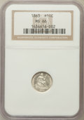 Seated Half Dimes: , 1863 H10C MS66 NGC. NGC Census: (19/17). PCGS Population (15/17).Mintage: 18,000. Numismedia Wsl. Price for problem free N...