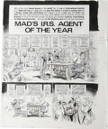 """Original Comic Art:Complete Story, George Woodbridge - Mad #263 Complete 4-page Story """"Mad's I.R.S. Agent of the Year"""" Original Art (EC, 1986). There's no tax ..."""