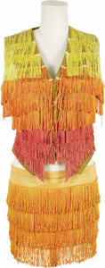 "Movie/TV Memorabilia:Costumes, Goldie Hawn's Go-Go Costume from ""Laugh-In."" A bright orange, redand yellow fringe go-go ensemble worn by Goldie Hawn on ...(Total: 1 Item)"