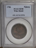 Colonials: , 1786 COPPER New Jersey Copper, Wide Shield XF40 PCGS. Maris 20-N, R.4. The obverse is light tan-brown, while golden-brown a...
