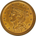 Half Cents: , 1857 1/2 C MS64 Red NGC. C-1, B-1, R.2. The final date of thedenomination, as the half cent (as well as the Large cent) wa...