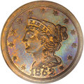 Proof Braided Hair Half Cents: , 1852 1/2 C Restrike, Small Berries PR65 Red and Brown PCGS. B-2,R.5. This is the First Restrike, identified by small berri...