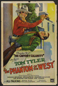 """The Phantom of the West (Mascot, 1931). One Sheet (27"""" X 41"""") Chapter 6--""""The Canyon of Calamity."""" S..."""